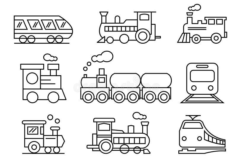 Linha ícones grupo, transporte, trem, ilustrações do vetor ilustração royalty free