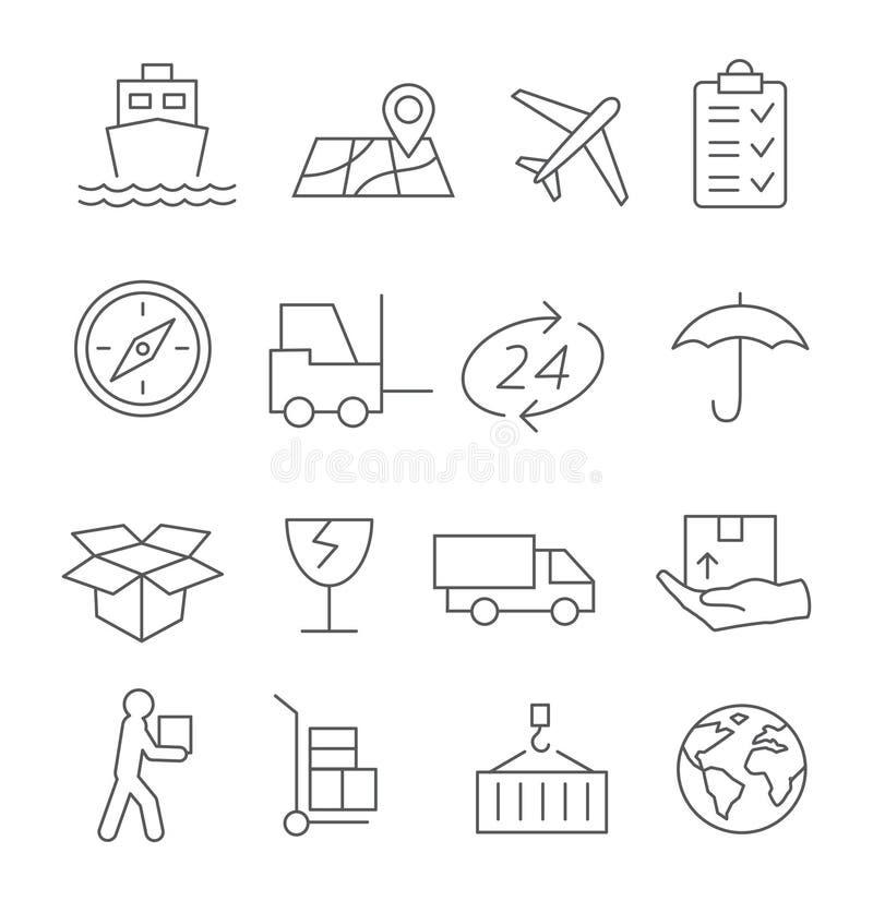 Linha ícones logística e de entrega ilustração royalty free