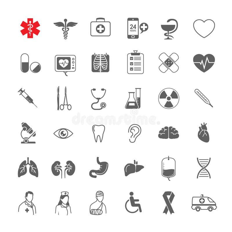 A linha ícones médicos ajustou-se geral, ferramentas, órgãos, símbolos ilustração stock