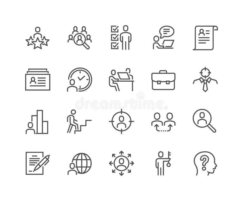 Linha ícones principais da caça ilustração stock
