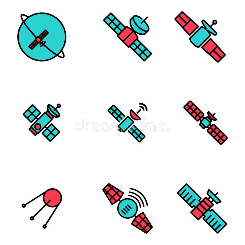 Linha ícones satélites do vetor da órbita ajustados ilustração do vetor