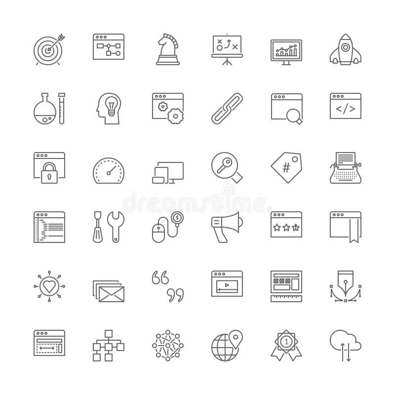 Linha ícones SEO e desenvolvimento da Web ilustração royalty free