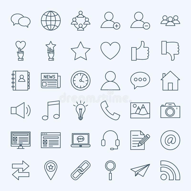 Linha ícones sociais dos meios ilustração stock