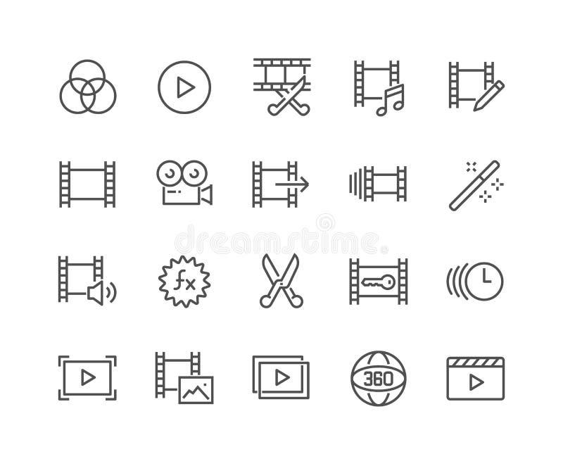Linha ícones video da edição ilustração stock