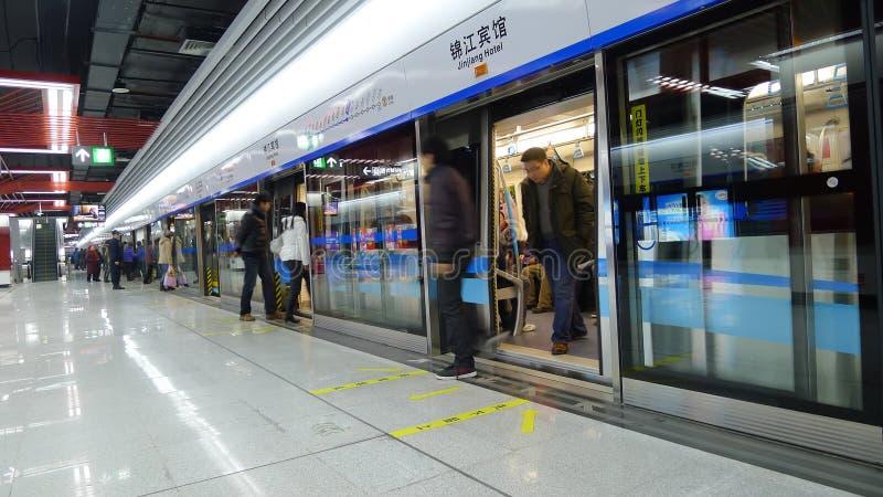 Linha 1 do metro de Chengdu imagens de stock royalty free