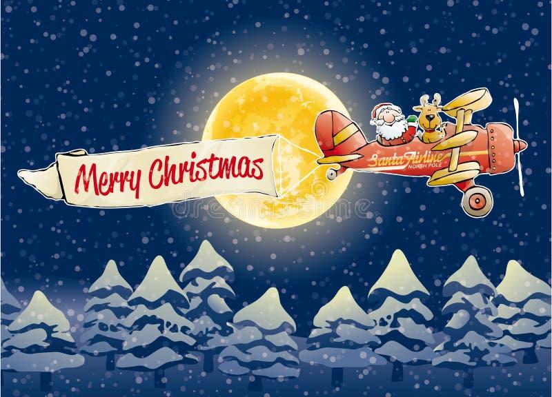 Linha aérea de Papai Noel ilustração royalty free
