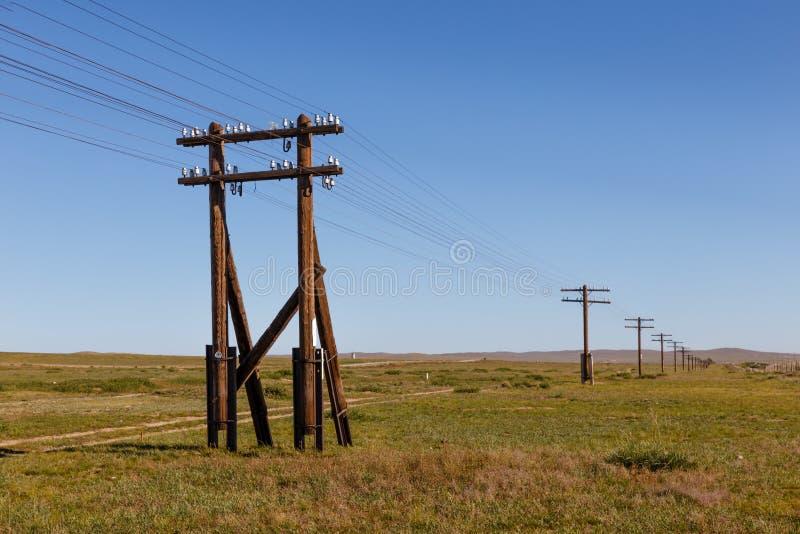 Linha aérea em apoios de madeira no estepe Mongolian imagens de stock