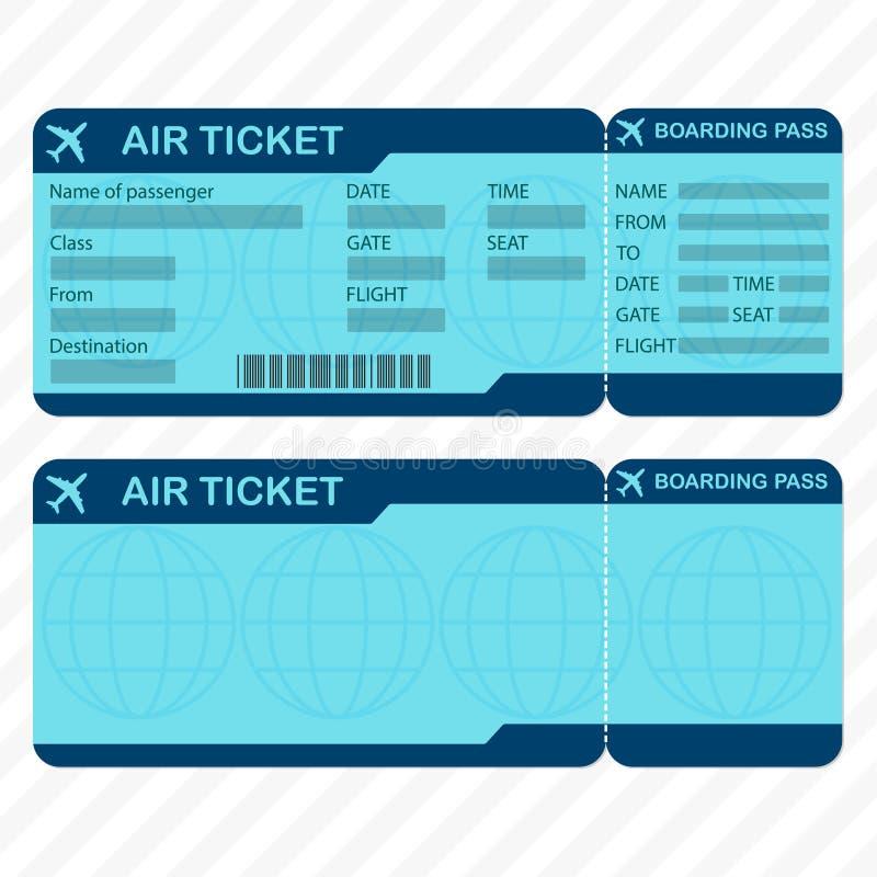 Linha aérea ou molde do bilhete plano Placa da passagem de embarque e bilhete de avião detalhados Ilustração do vetor ilustração do vetor