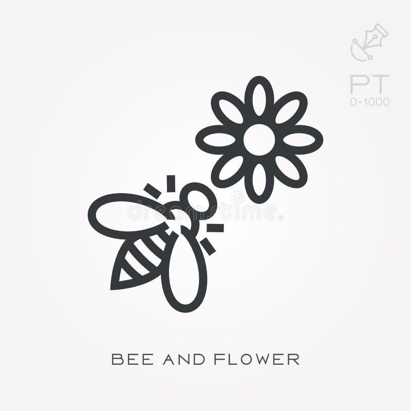 Linha abelha e flor do ícone ilustração stock