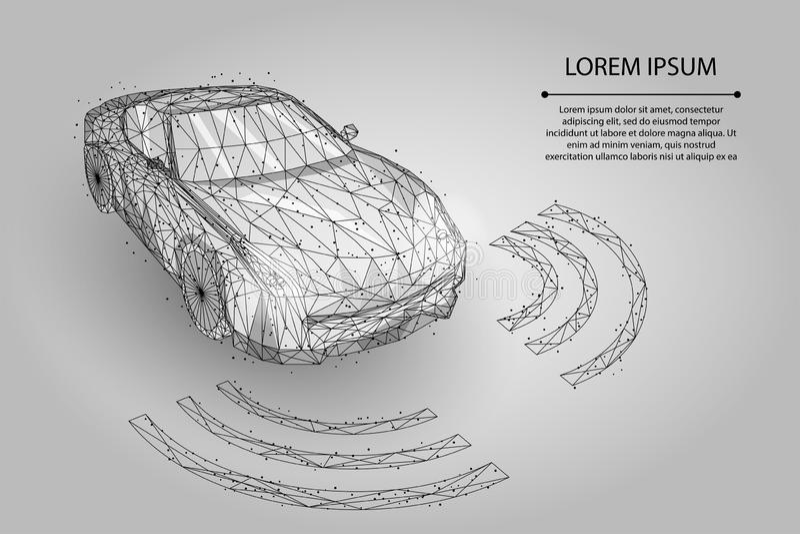 Linha abstrata da erva-benta e carro de alta velocidade do movimento do ponto conceito da automatização do motorista do piloto au ilustração stock