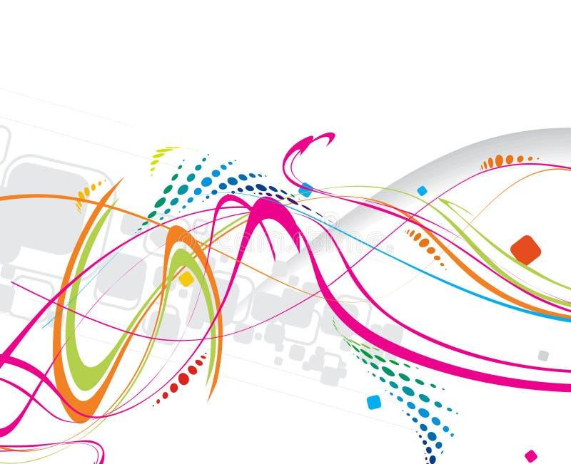 Linha abstrata da onda do arco-íris ilustração stock