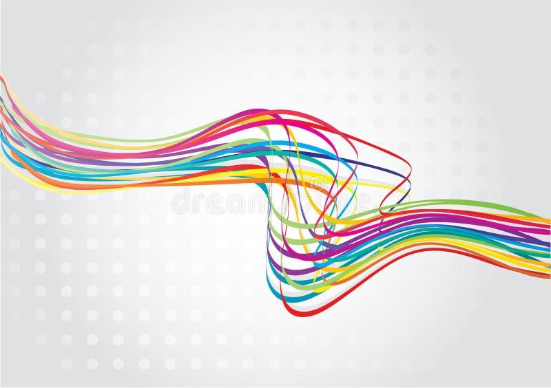 Linha abstrata da onda do arco-íris ilustração do vetor