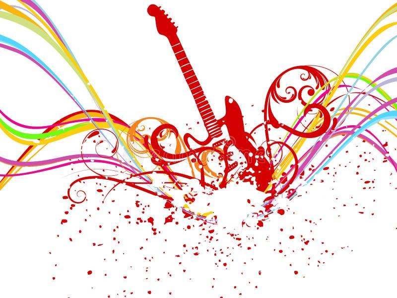 Linha abstrata da onda do arco-íris com música ilustração stock