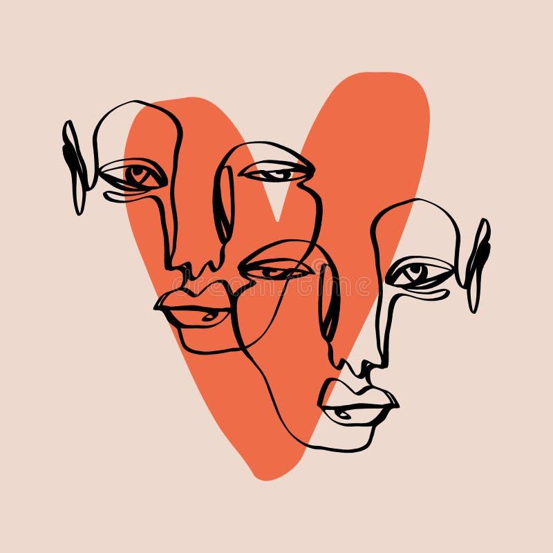 Linha abstrata desenho moderno da cara uma Estilo de Minimalistic ilustração royalty free