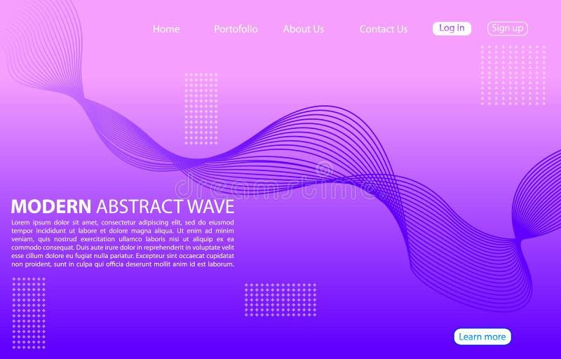 Linha abstrata moderna fundo da cor Projeto de aterrissagem da onda do sumário da página Fundo roxo ilustração stock