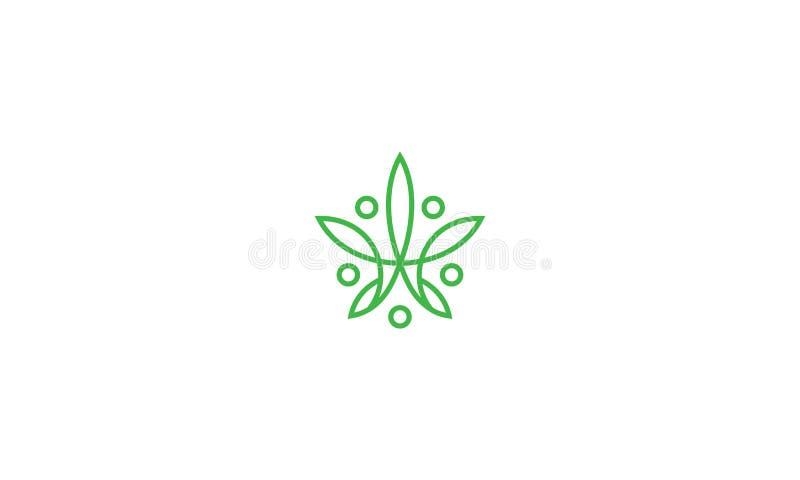 Linha abstrata vetor do cannabis do ícone do logotipo da arte ilustração royalty free