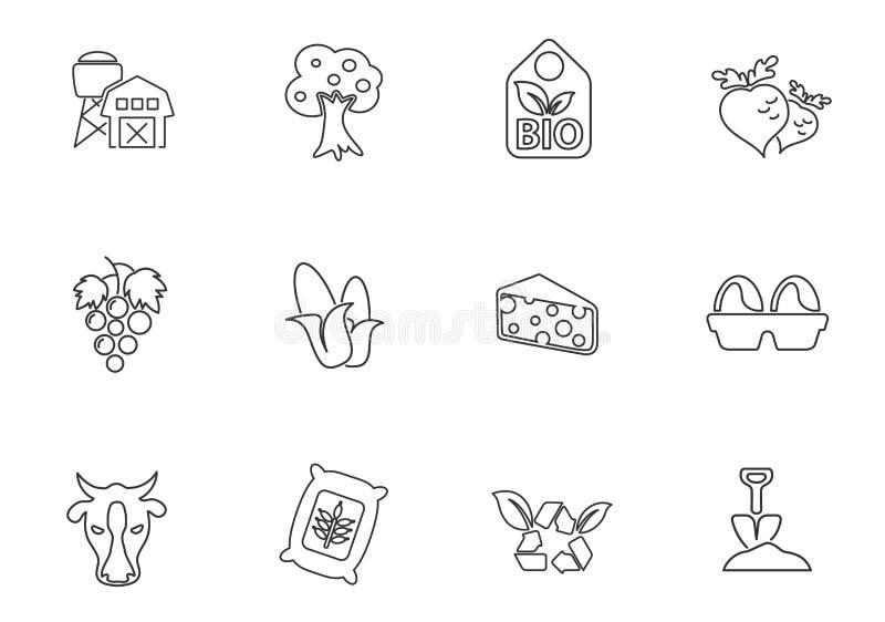 Linha agrícola grupo do ícone ilustração stock