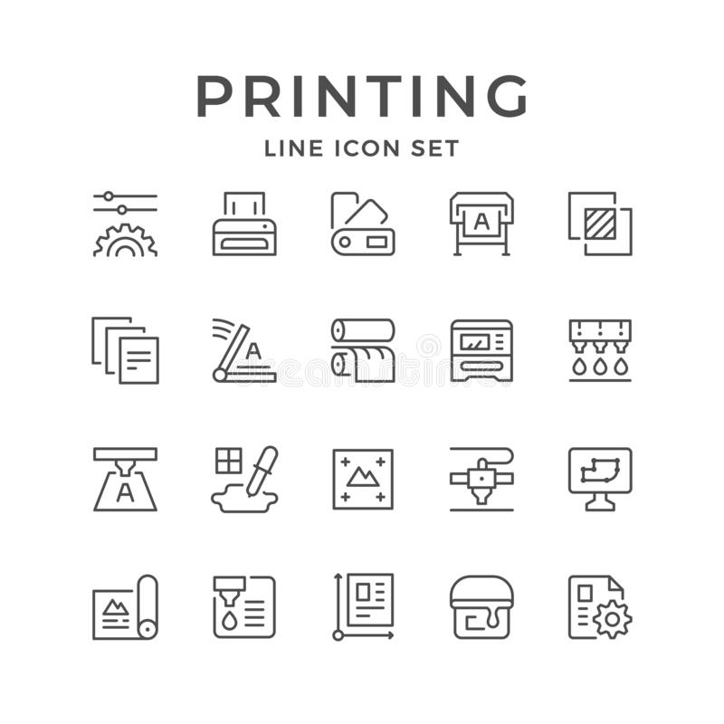 Linha ajustada ícones de cópia isolados no branco Ilustração do vetor ilustração royalty free
