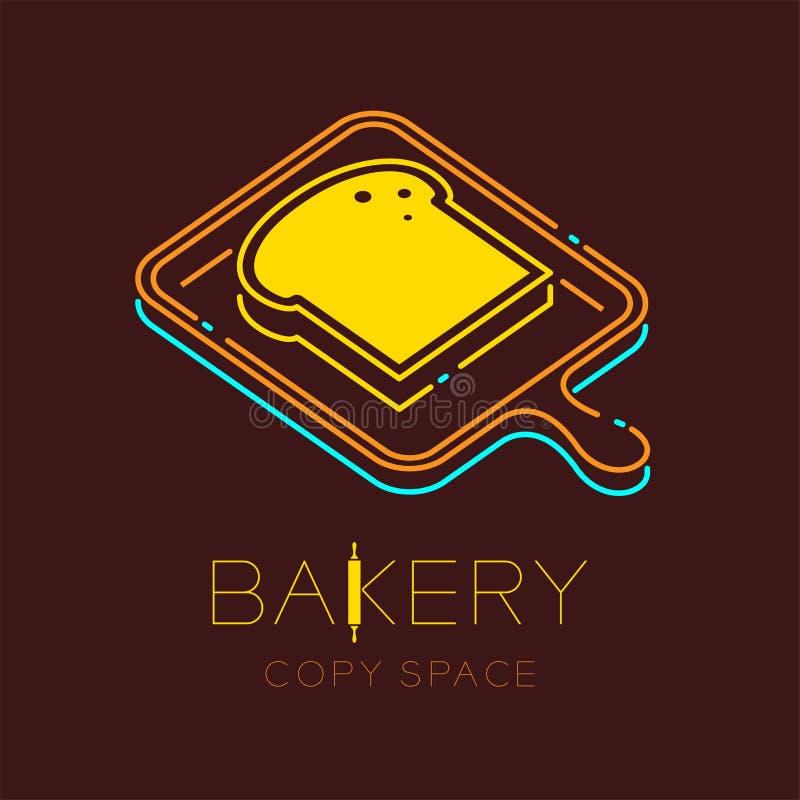 A linha ajustada do traço do curso do esboço do ícone do logotipo da bandeja do pão e da madeira projeta a ilustração ilustração royalty free