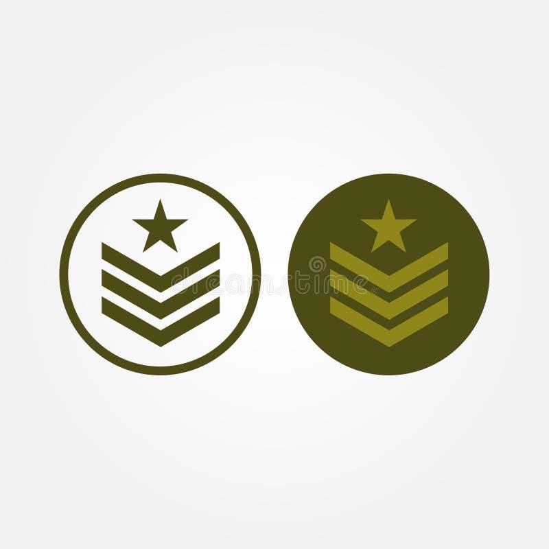 A linha ajustada exército do vetor conservado em estoque relacionou o projeto da ilustração do vetor da imagem do emblema ilustração do vetor