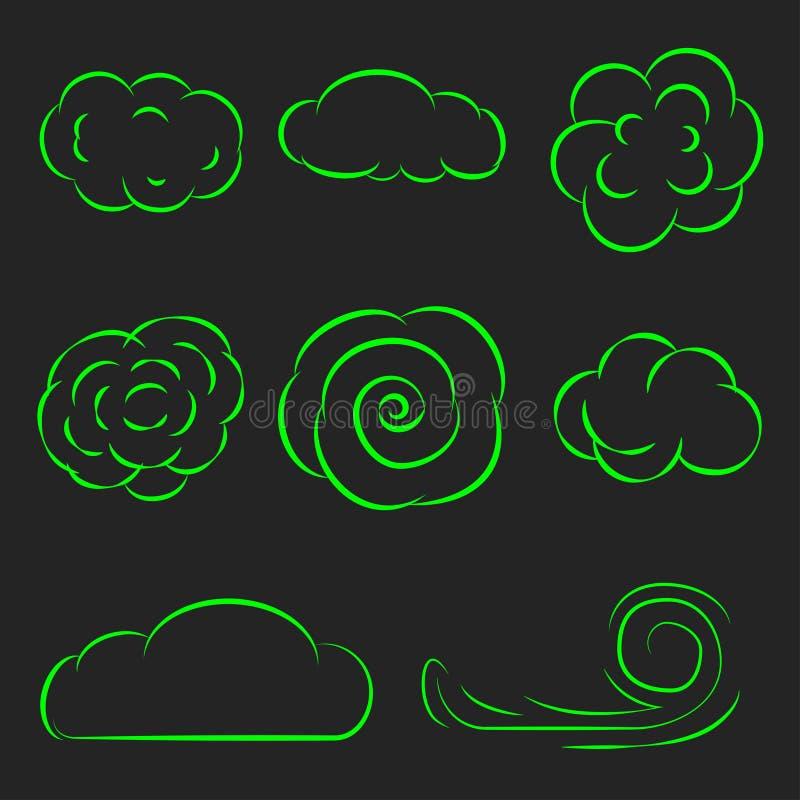 Linha ajustada nuvens ilustração do vetor dos ícones ilustração royalty free