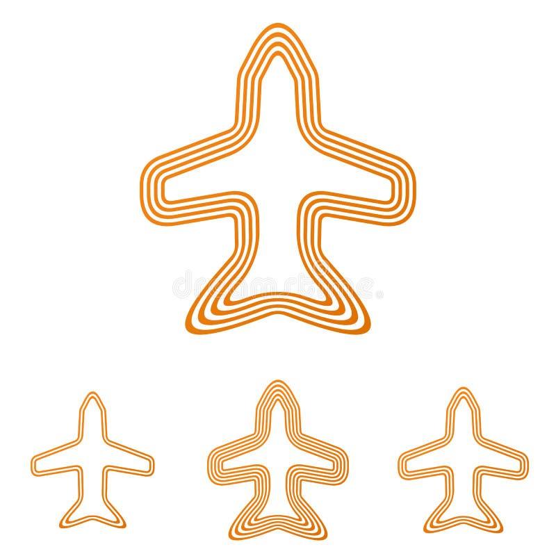 Linha alaranjada grupo do projeto do logotipo do jato ilustração do vetor
