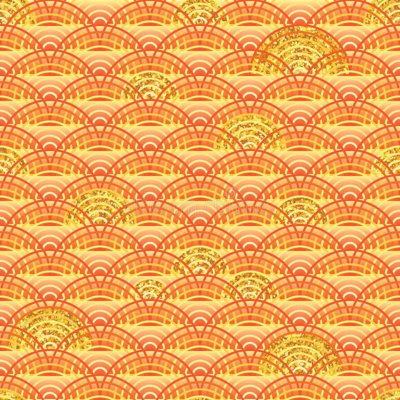 Linha alaranjada teste padrão sem emenda do brilho parcialmente dourado ilustração stock