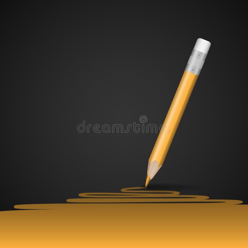 Linha amarela do desenho de lápis. imagem de stock