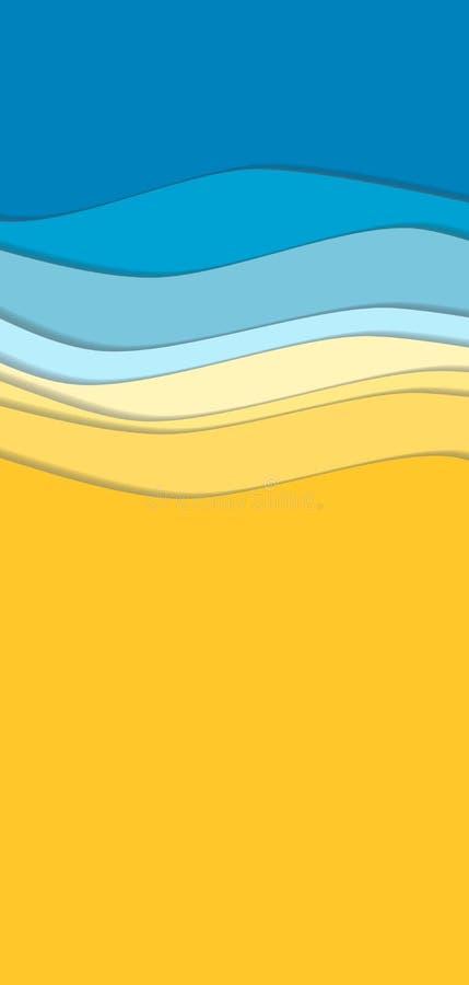 Linha amarela e azul fundo da onda da curva ilustração do vetor