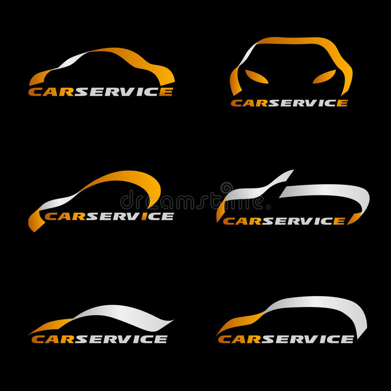 Linha amarela e de prata cenografia da fita do vetor do logotipo do carro no fundo preto ilustração royalty free