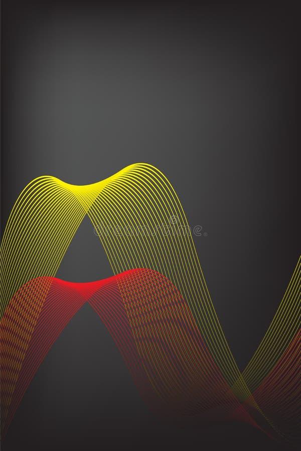 Linha amarela e vermelha abstrata com fundo preto do borrão Projeto do folheto, ilustra??o do gr?fico de vetor do molde da primei ilustração royalty free
