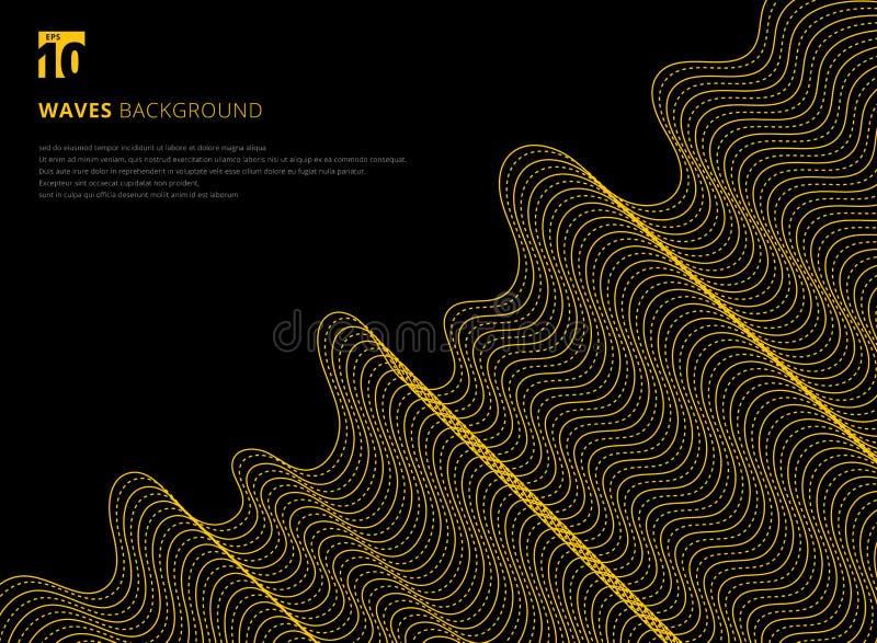 Linha amarela moderna futuristi do sumário 3D do projeto do molde do teste padrão ilustração do vetor