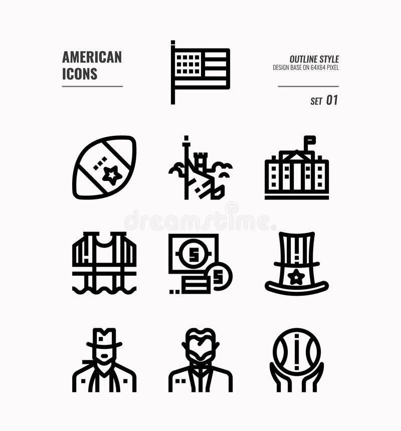 A linha americana ícone ajustou 1 ilustração royalty free