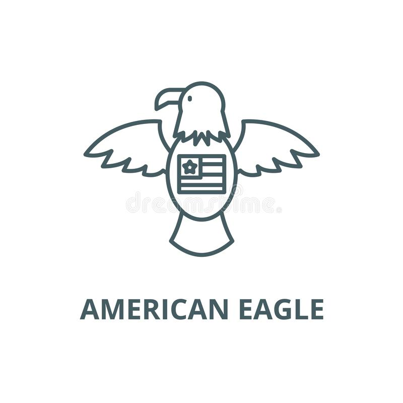 Linha americana ícone da águia, vetor Sinal americano do esboço da águia, símbolo do conceito, ilustração lisa ilustração stock
