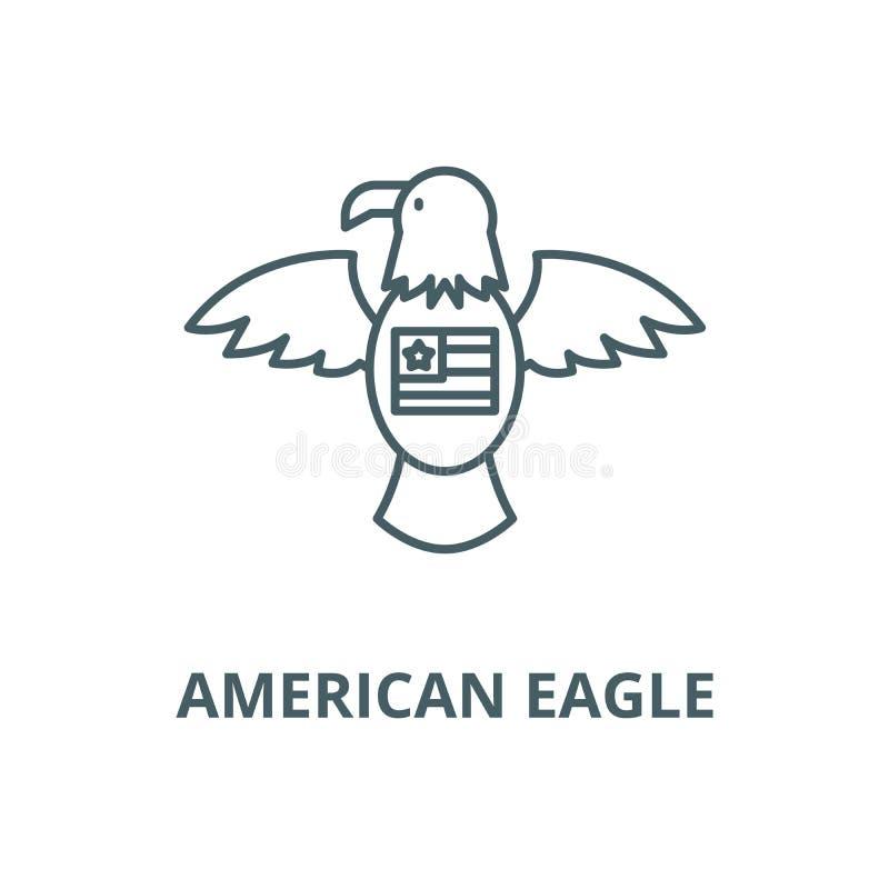 Linha americana ícone do vetor da águia, conceito do esboço, sinal linear ilustração royalty free