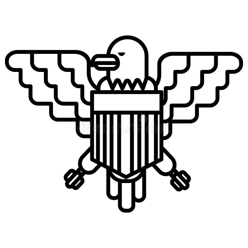 Linha americana ícone do vetor da águia, sinal, ilustração no fundo, cursos editáveis ilustração do vetor