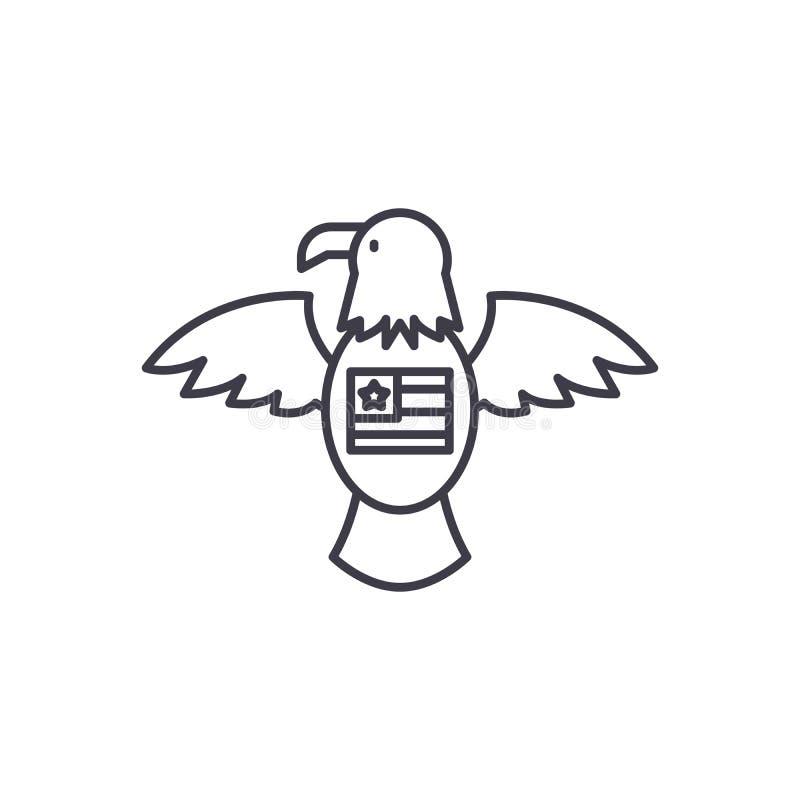Linha americana conceito da águia do ícone Ilustração linear do vetor americano da águia, símbolo, sinal ilustração royalty free
