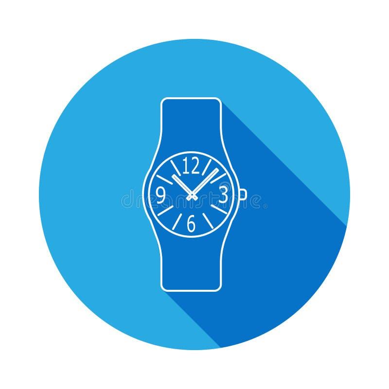Linha análoga moderna ícone do relógio de pulso dos homens Ícone do pulso de disparo com sombra longa Projeto gráfico da qualidad ilustração royalty free