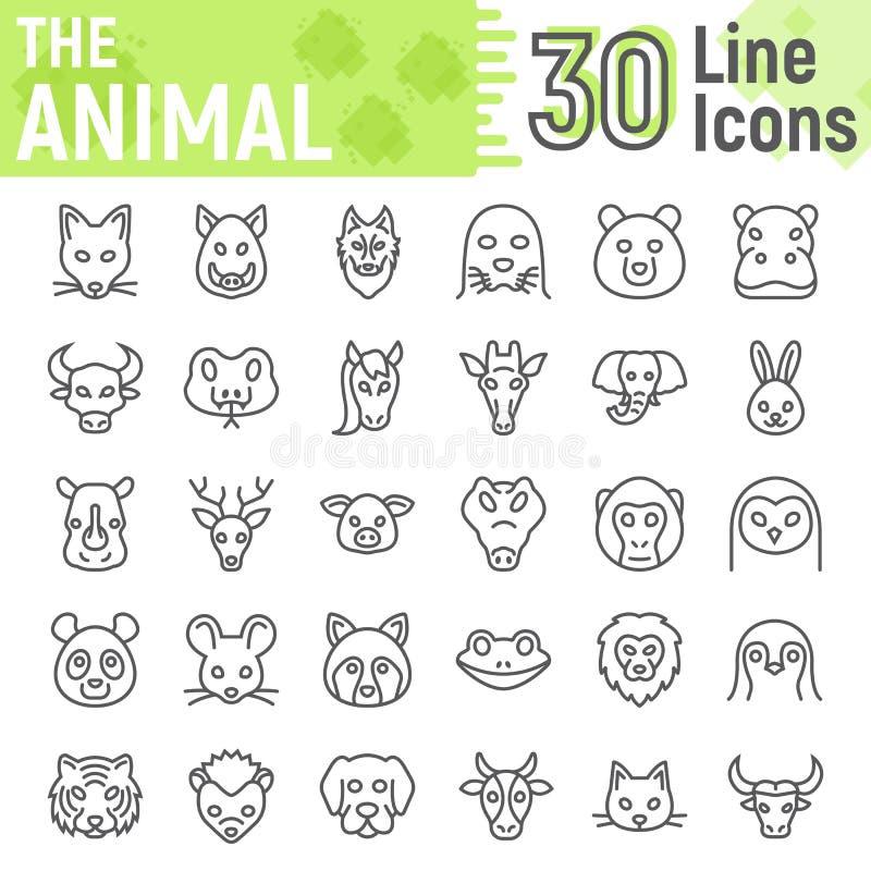 Linha animal grupo do ícone, coleção dos símbolos do animal ilustração stock