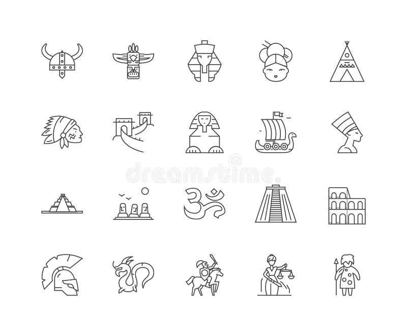 Linha antiga ?cones da civiliza??o, sinais, grupo do vetor, conceito da ilustra??o do esbo ilustração royalty free