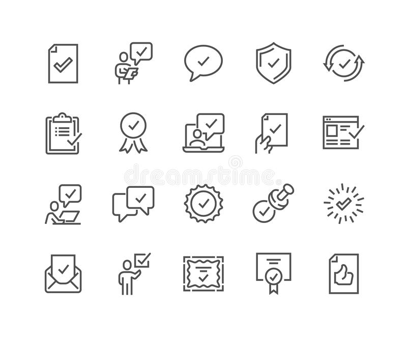 A linha aprova ícones ilustração stock