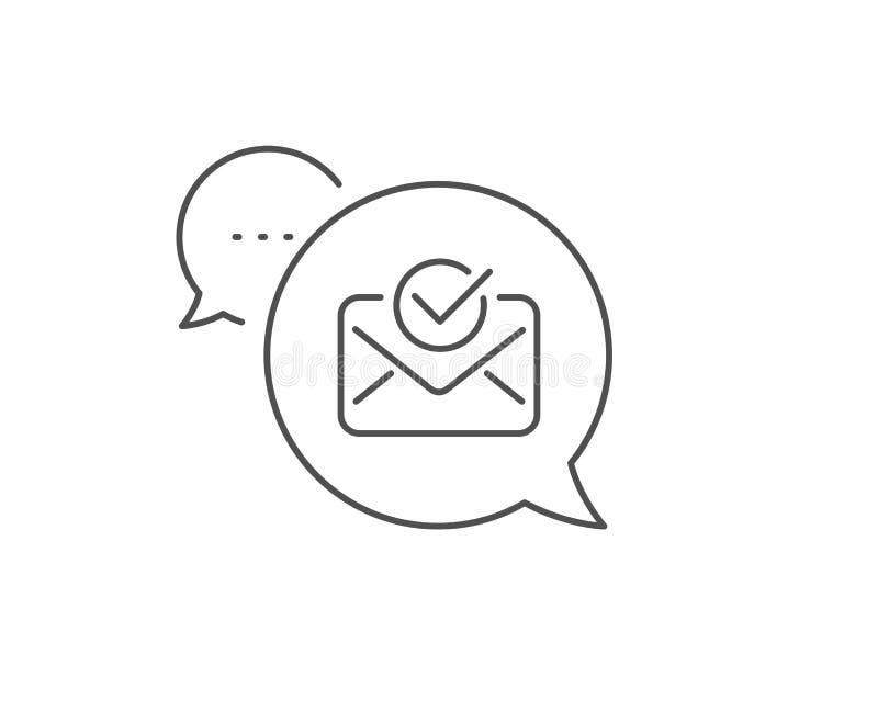 Linha aprovada ?cone do correio Sinal aceitado ou confirmado Vetor ilustração do vetor