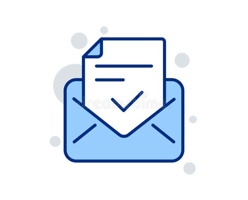 Linha aprovada ?cone do correio Sinal aceitado ou confirmado Vetor ilustração stock