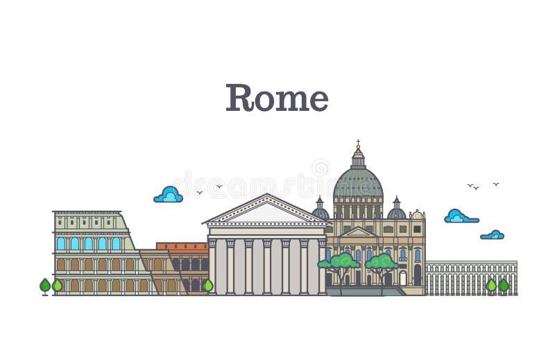A linha arquitetura de Roma da arte, construções de Italia vector a ilustração ilustração royalty free