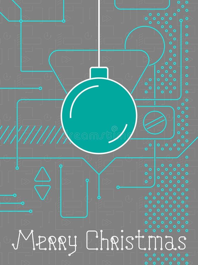 Linha Art Bakcground de Techno do Feliz Natal ilustração royalty free