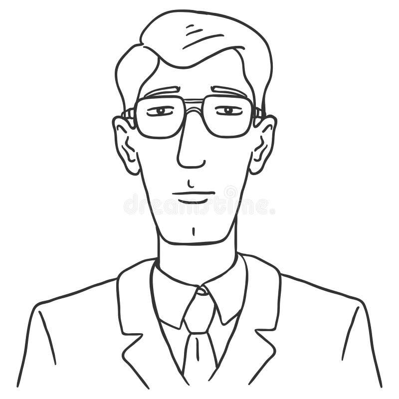 Linha Art Business Avatar do vetor - homem novo nos vidros e no terno ilustração royalty free