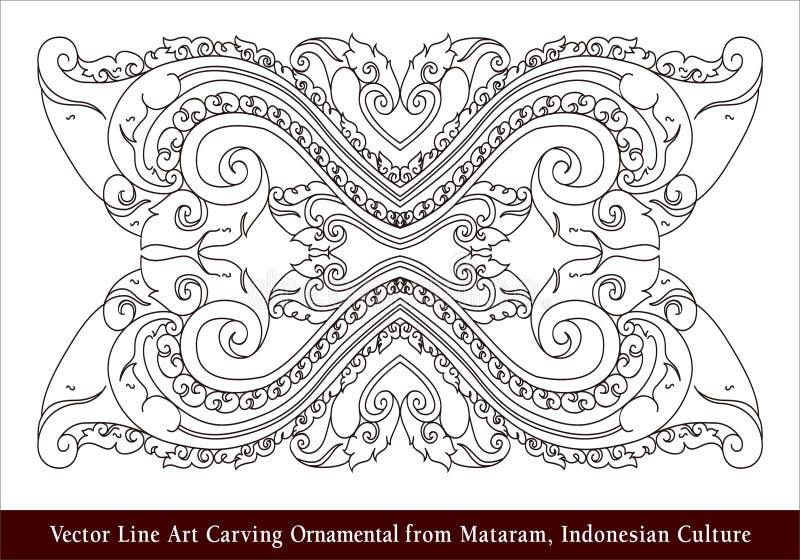 Linha Art Carving Ornamental de Mataram, linha indonésia Art Carving Ornamental de Mataram, Cu indonésio do vetor do vetor da cul ilustração royalty free