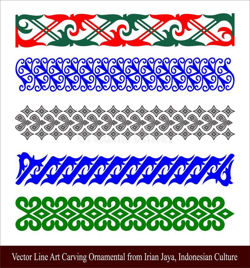 Linha Art Carving Ornamental do vetor de Irian Jaya, cultura indonésia ilustração do vetor