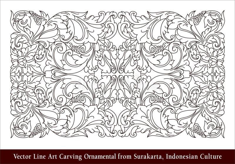Linha Art Carving Ornamental do vetor de Surakarta, cultura indonésia ilustração royalty free