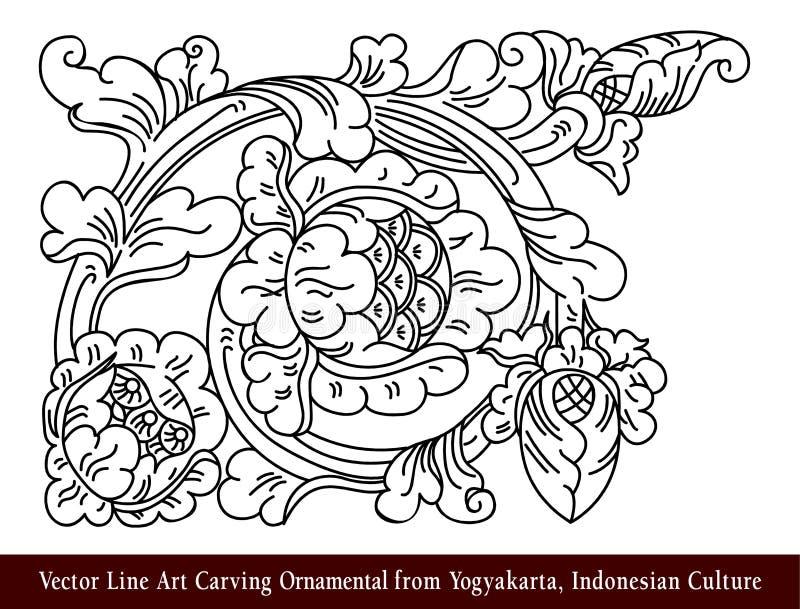 Linha Art Carving Ornamental do vetor de Yogyakarta, cultura indonésia ilustração stock